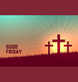 three crosses scene for good friday event vector image