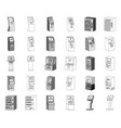 variety of terminals monochromeoutline icons in vector image vector image