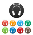 wireless headphones icons set color vector image vector image