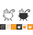 witch cauldron simple black line icon vector image