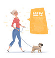woman is walking with a dog pug vector image vector image