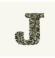 Elegant capital letter J in the style Baroque vector image