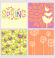 retro spring birds flowers doodles vector image