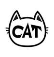 black cat head face contour silhouette icon line vector image