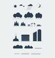 city landscape elements silhouette style vector image