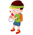 Cartoon boy with toy gun vector image