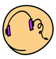 A Head Phone on Round Yellow Background vector image