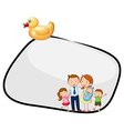 An empty template with a family and a rubber duck vector image vector image
