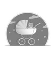 black and white baby stroller for vector image