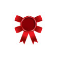 blank red wax seal with red ribbon bow behind it vector image vector image