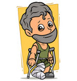 Cartoon bearded boy character with broken leg