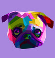 colorful pug head dog vector image vector image