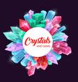 crystals gems quartz amethyst diamond frame vector image vector image