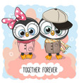cute cartoon penguins boy and girl vector image vector image