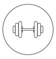 dumbbell the black color icon in circle or round vector image vector image