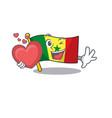 falling in love happy cute flag senegal cartoon vector image vector image