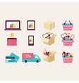 Flat design e-commerce symbols vector image