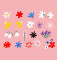 flower icon collection flat cartoon vector image vector image