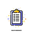 health insurance clipboard with checkmarks icon vector image