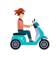 Hipster Young Man Characters Riding Fast Retro vector image vector image