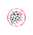 human brain intelligence technology logo vector image vector image