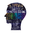 Human Head silhouette with digital numbers vector image