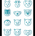 icon set animals blue vector image