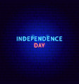 independence day neon text vector image vector image