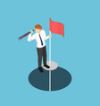 isometric businessman standing on pole with vector image vector image