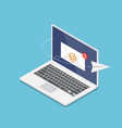 isometric laptop with new email notification on vector image vector image