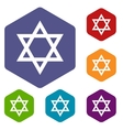 Judaism rhombus icons vector image vector image