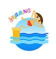 little boy swimming sport training hobby flat vector image