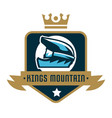 logo kings mountain crown a bicycle helmet vector image vector image