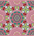 mandala colored round ornament pattern on a pink vector image vector image