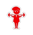 paper sticker on white background man with barbell vector image vector image