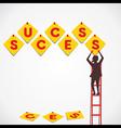 push pin make success word vector image vector image