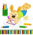 rabbit drawing pencils vector image vector image