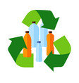 recycle flat icon inside plastic bottles vector image vector image
