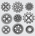 retro sketch mechanical gears hand drawn vintage vector image
