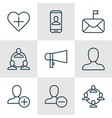 set of 9 communication icons includes significant vector image vector image
