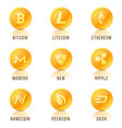 set of cryptocurrency coin symbols icons signs vector image vector image