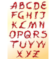 set of red decorative letters vector image vector image