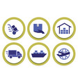 shipping-circle-icons vector image