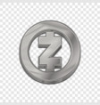 silver zcash coin trendy 3d style icon vector image vector image