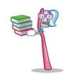 student with book toothbrush mascot cartoon style vector image vector image