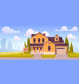 suburban house with garage for sale vector image