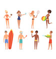 summer holiday characters woman in bikini have a vector image vector image