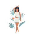 summer poster with pretty girl and tropical leaves vector image vector image