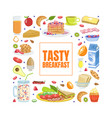 tasty breakfast banner template with morning vector image vector image