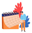 time management organizer or calendar man business vector image vector image